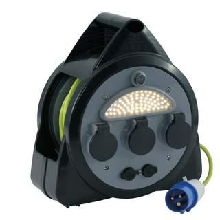 Bubnový predlžovací kábel so svetielkom a USB prípojkou